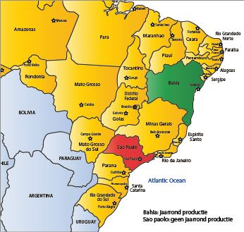 Image result for where do they grow oranges in brazil  map