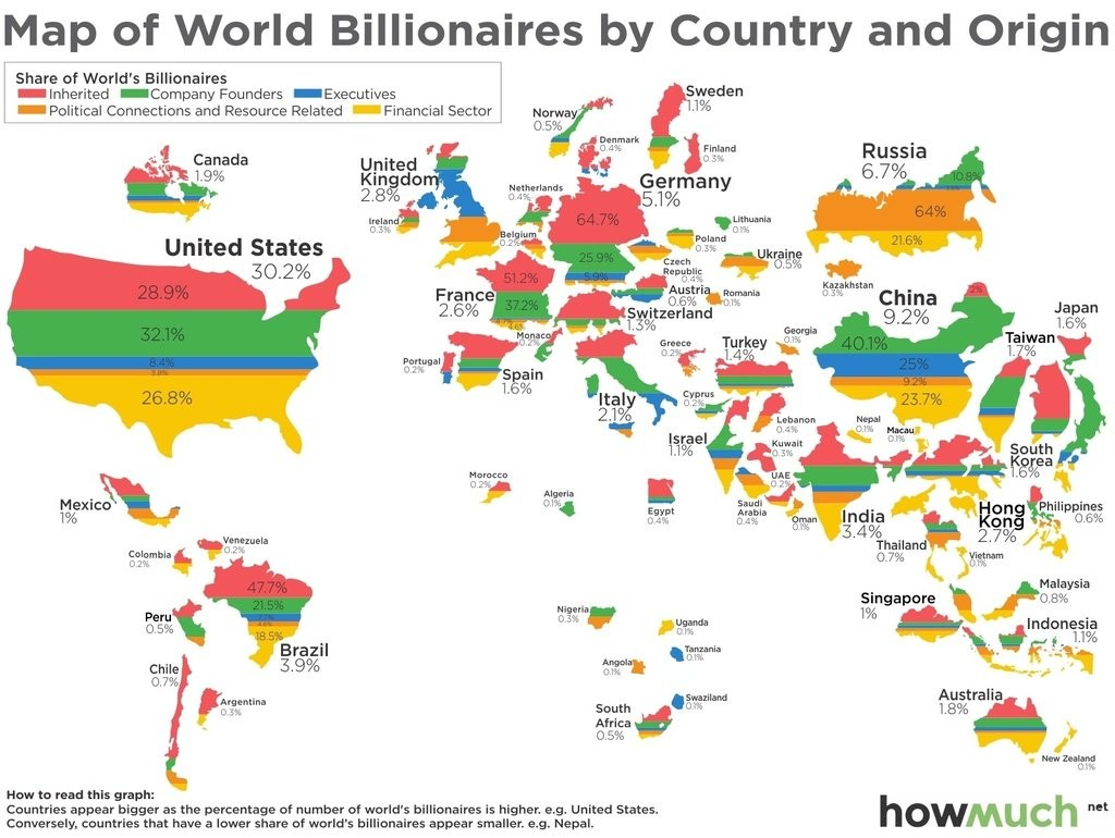 Map Of World Billionaires By Country And Origin