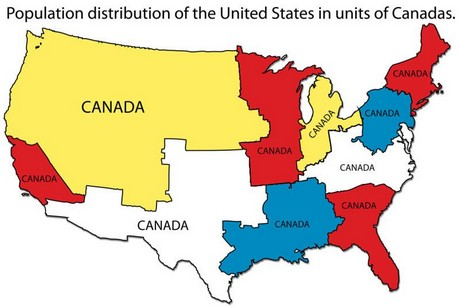 Map Shows Population Distribution Of The US In Units Of Canadas - Us population map 2017