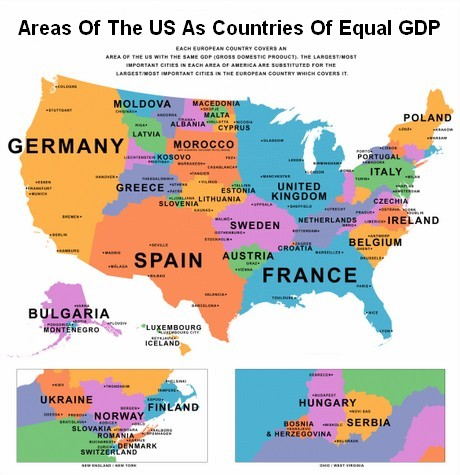 Map Of US States Compared To Other Countries By GDP - Us map gdp countries