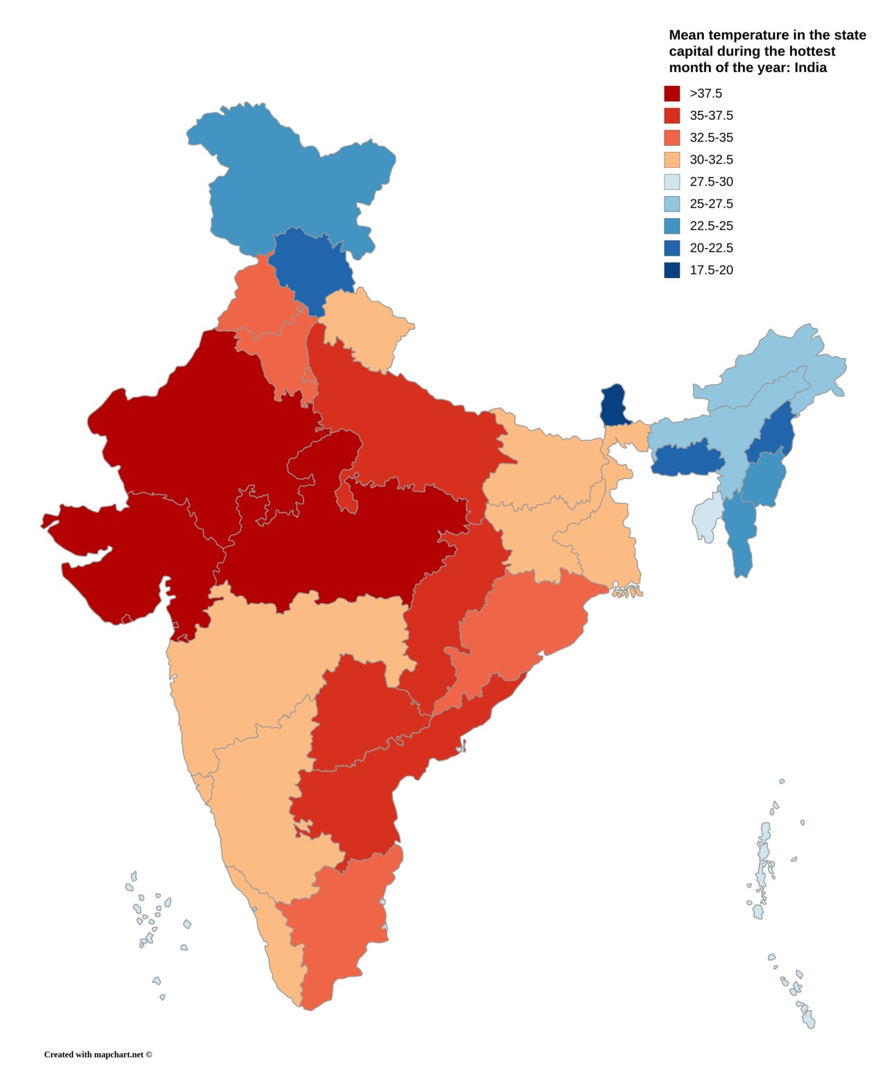 Freshplaza average temperatures in indian state capitals a map showing the mean temperature in indian state capitals during the hottest month of the year freerunsca Images