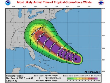 Infrastructure The Biggest Concern As Hurricane Florence Targets